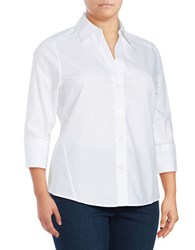 Foxcroft Plus Paige Three Quarter Sleeve Shirt White