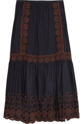 See By Chloe Broderie Anglaise Printed Cotton Maxi Skirt Navy