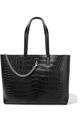Saint Laurent Shopping Large Croc Effect Leather Tote Black