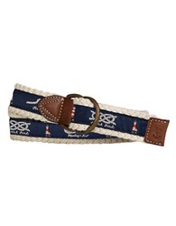 Polo Ralph Lauren Braided D Ring Belt Navy Cream