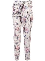 Y Project Floral Tie Waist Trousers White