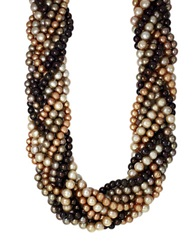 Effy Sterling Silver Brown Multi Colored Pearl Braided Necklace Multicolored Pearl
