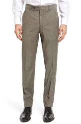Ted Baker Men's London Jerome Flat Front Solid Wool And Cotton Trousers Tan