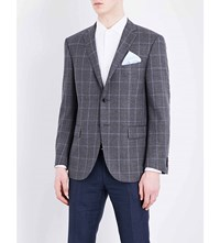 Corneliani Leader Fit Windowpane Print Wool Jacket Charcoal