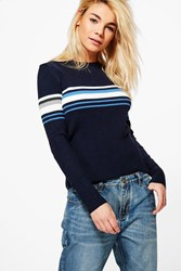 Boohoo Darcey Ribbed Crew Neck Sports Stripe Jumper Navy