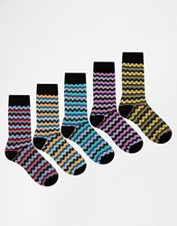 Asos Socks 5 Pack With Stripe Zig Zag Design Multi