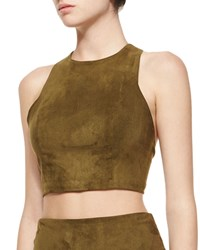 Alice Olivia Suede Racerback Crop Top Olive Green Size 6