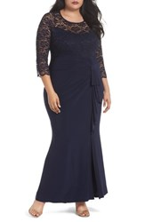 Marina Plus Size Women's Cascade Lace And Jersey Gown Navy