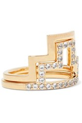 Elizabeth And James Erte Set Of Two Gold Tone Crystal Rings Gold