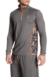 Psycho Bunny Lounge Quarter Zip Performance Pullover Gray