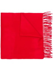 Begg And Co Classic Cashmere Fringed Scarf Red