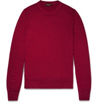 Berluti Slim Fit Fine Knit Wool Sweater Red