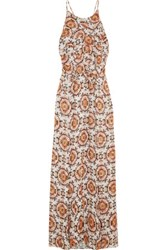 L'agence Adriana Ruffle Trimmed Printed Silk Chiffon Gown Unknown