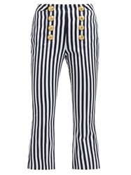 Balmain Striped Cotton Twill Kick Flare Trousers Navy White