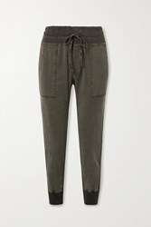 James Perse Jersey Trimmed Cotton Twill Track Pants Green