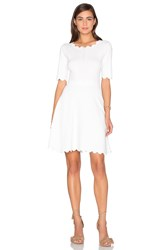 Milly Scallop Ballet Flare Dress White