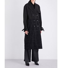 Yang Li Satin And Snakeskin Jacquard Trench Coat Black