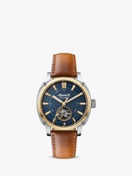 Ingersoll 'S The Director Automatic Heartbeat Leather Strap Watch Tan Blue I08103