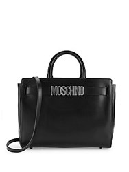 Moschino Logo Leather Satchel Black