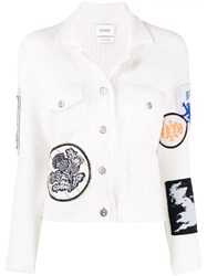 Barrie Patchwork Detailed Knitted Jacket White