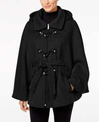 Calvin Klein Hooded Toggle Cape Coat Black