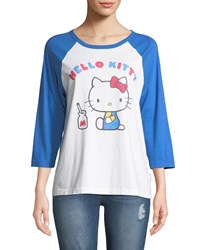 41c4a1891 Chinti And Parker X Hello Kitty Graphic Baseball Tee White Blue