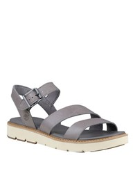 Timberland Baileypark Leather Y Strap Sandals Grey