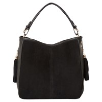 Oasis Side Zip Suede Hobo Bag Black