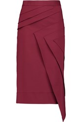 Raoul Lark Layered Cotton Blend Midi Skirt Claret