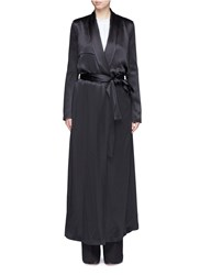 Galvan London Silk Satin Belted Trench Coat Black