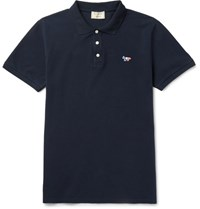 Maison Kitsune Cotton Pique Polo Shirt Navy