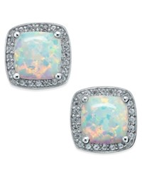 Macy's Opal 1 3 4 Ct. T.W. And Diamond 1 8 Ct. T.W. Halo Stud Earrings In Sterling Silver