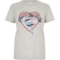 River Island Womens Grey Sequin Heart T Shirt