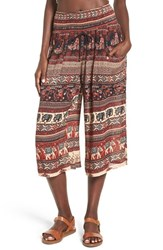 Band Of Gypsies Women's Print Culottes Sand Burgundy