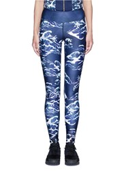 We Are Handsome 'The Cascade' Tidal Wave Print Active Leggings Blue