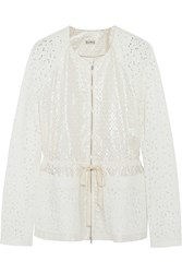 Suno Coated Broderie Anglaise Cotton Jacket White