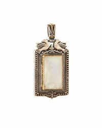 Konstantino Erato Rectangular Labradorite Doublet Locket Pendant Enhancer White