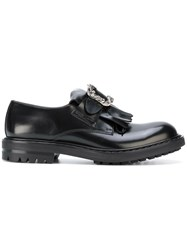 Alexander Mcqueen Buckled Loafers Calf Leather Leather Rubber Black