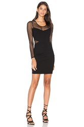 Bobi Black Double Knit Long Sleeve Bodycon Dress