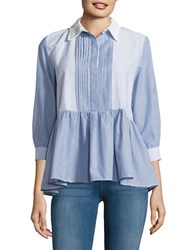 French Connection Striped Peplum Blouse Blue