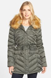 Women's Laundry By Shelli Segal Belted Down And Feather Fill Utility Parka With Faux Fur Trim Tea Tree