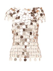 Paco Rabanne Sequinned Chainmail Top Rose Gold