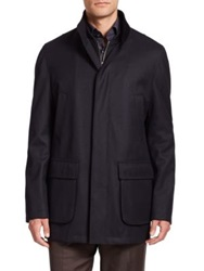 Saks Fifth Avenue Wool Overcoat Black Charcoal