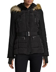 French Connection Faux Fur Trimmed Hooded Belted Puffer Coat Black