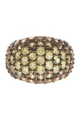 Savvy Cie 22K Gold Plated Sterling Silver Peridot Dome Ring Green