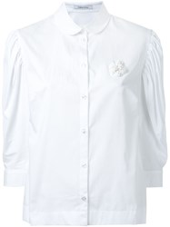 Simone Rocha Pleated Puff Sleeve Shirt White