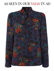 Biba Printed Pussybow Detail Blouse Multi Coloured