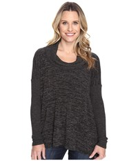 Mod O Doc Heather Sweater W Rib Long Sleeve Cowl Neck Pullover Black Heather Women's Clothing