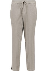 James Perse Cropped Stretch Cotton Blend Tapered Pants Mushroom