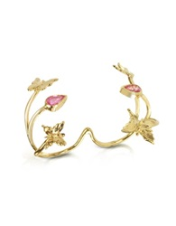 Bernard Delettrez Butterfly And Pink Sapphires Gold 2 Fingers Ring